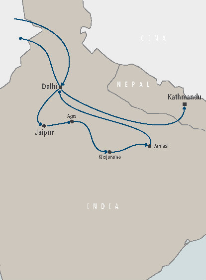 Cartina India Del Nord.India Del Nord Nepal Classic In Aereo Guiness Travel Tour Operator